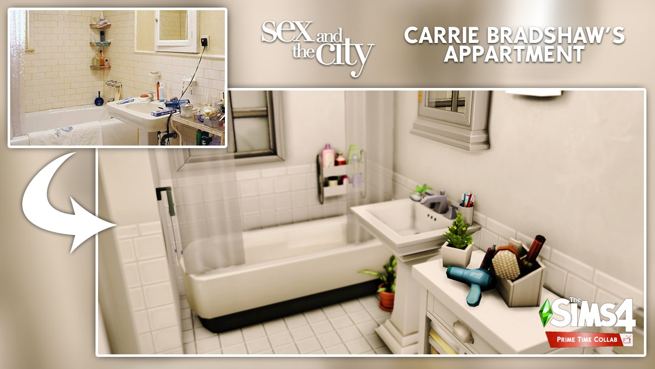 Carrie Bradshaw's appartment flat sims 4 furnished bathroom