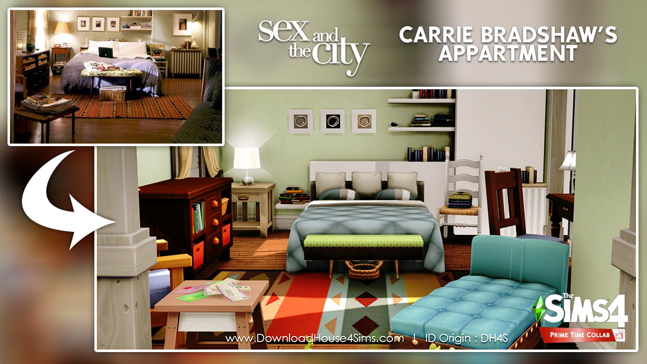 Carrie Bradshaw's appartment flat sims 4 bedroom furnished