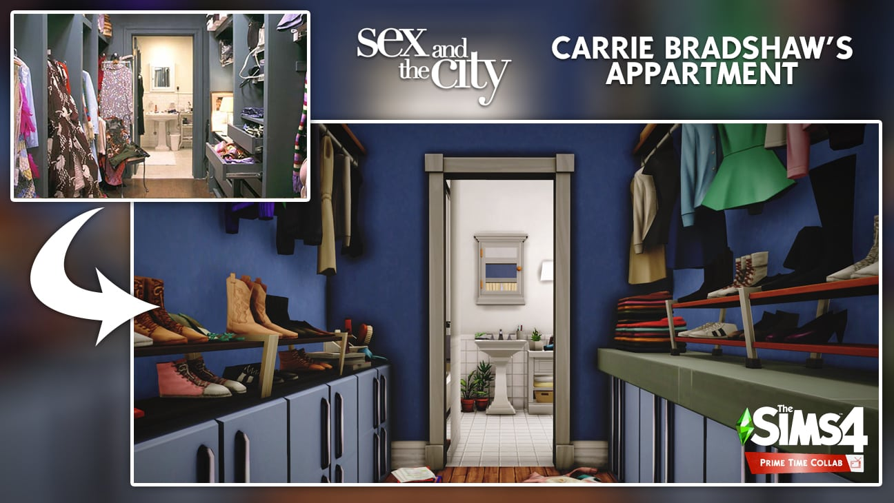 Carrie Bradshaw's appartment flat sims 4 dressing furnished