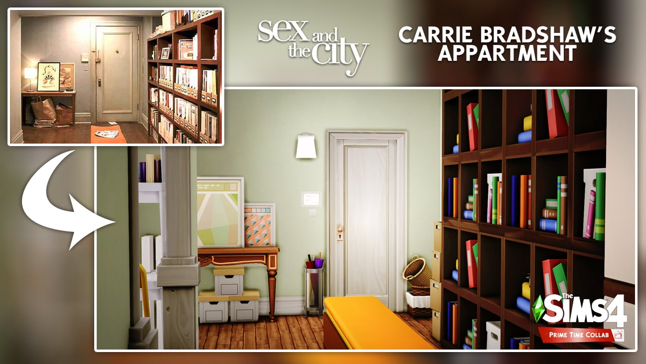 Carrie Bradshaw's appartment flat sims 4 entrance furnished