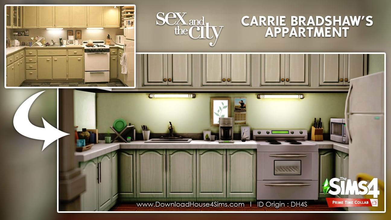 Carrie Bradshaw's appartment flat sims 4 kitchen furnished