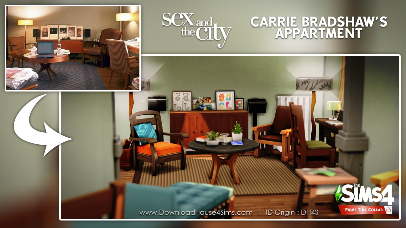 Carrie Bradshaw's appartment flat sims 4 living room furnished
