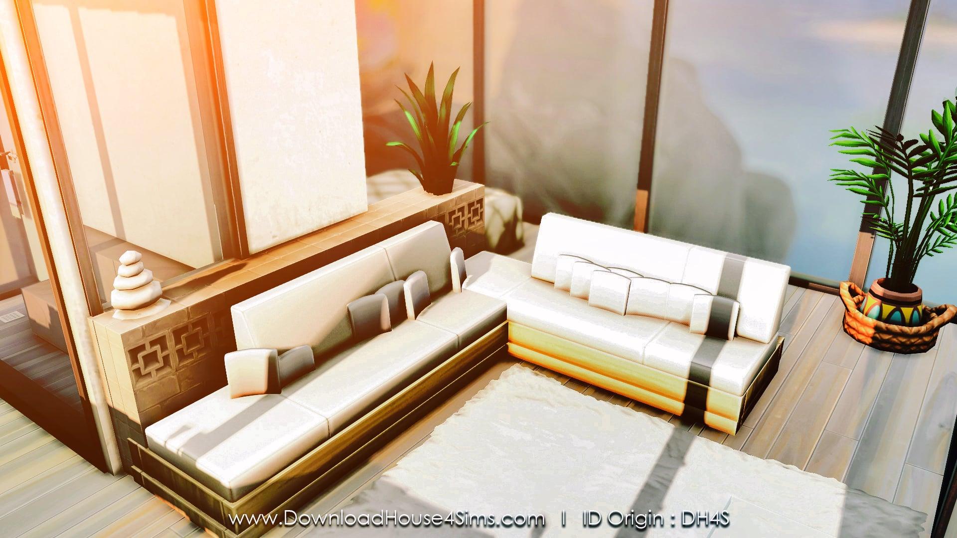 Sims 4 cliff modern tiny house NO CC