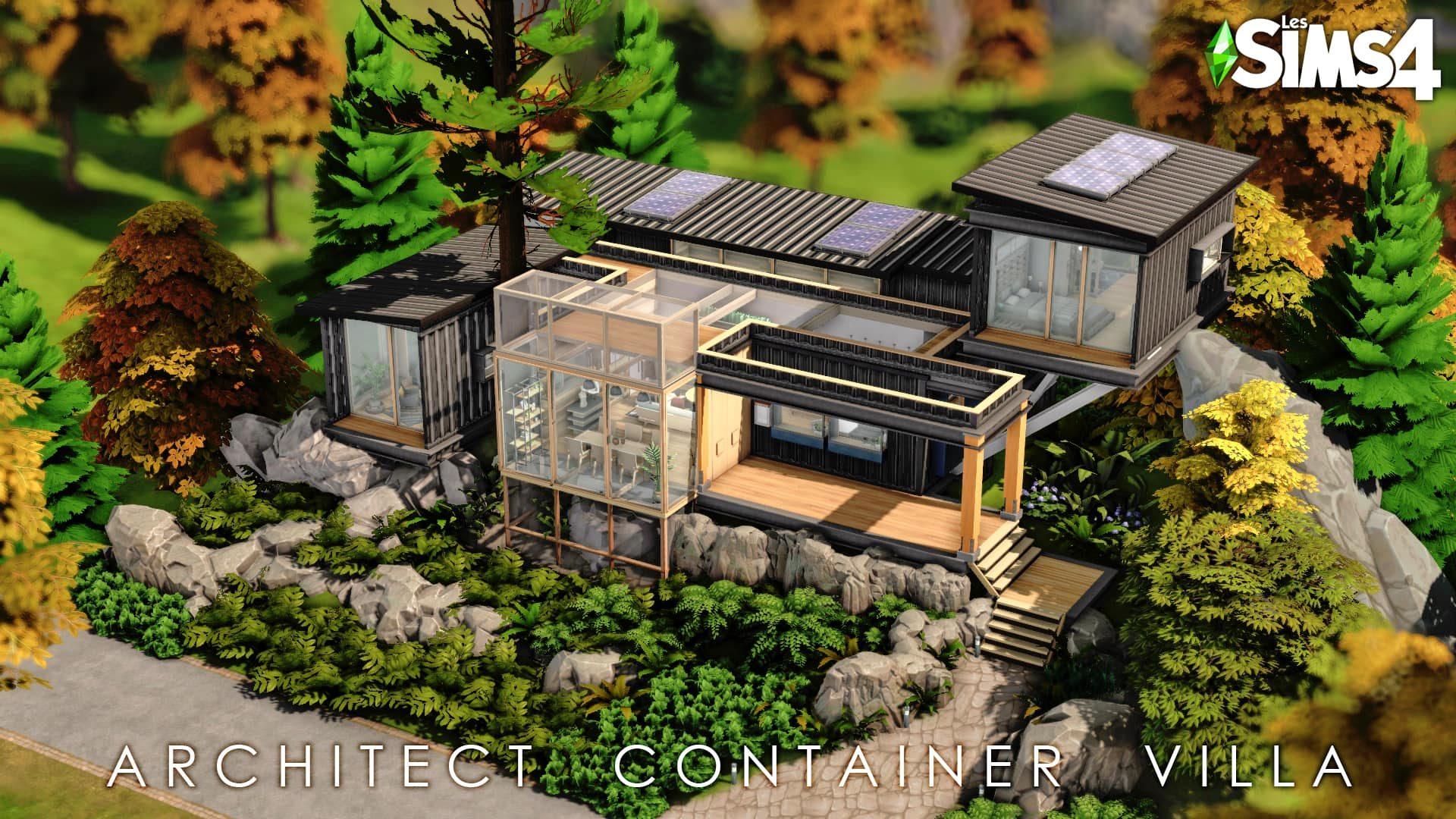 Architect container villa Les Sims 4 maison à télécharger